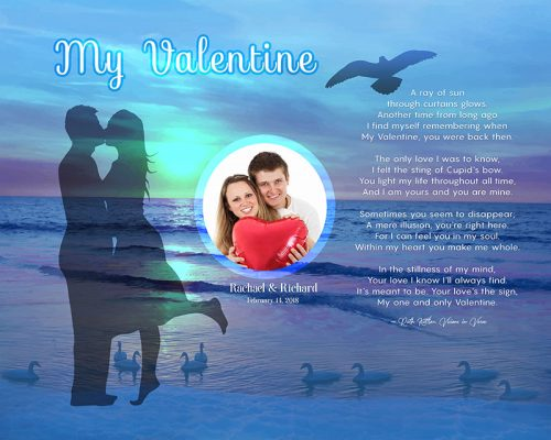 Sunset Beach Art Poem Valentine Gift Personalized