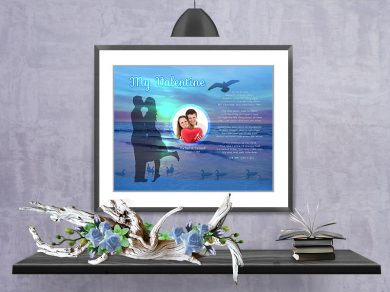 Sunset Beach Valentine Art Poem in Black Matted Frame with 30 x 24 Artwork