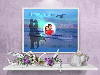 Sunset Beach Valentine Art Poem in White Frame with 30 x 24 Artwork