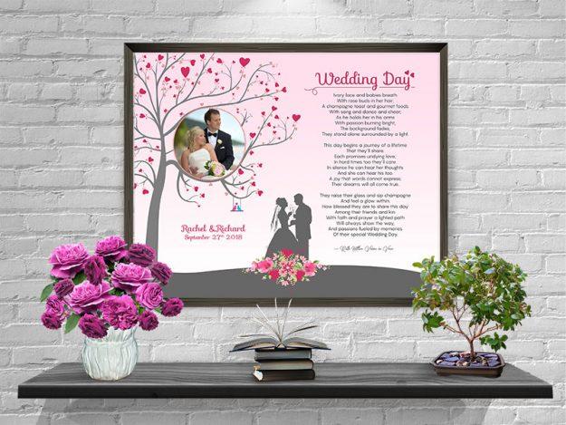 Heart Tree Personalized Wedding Art Poem Print Framed