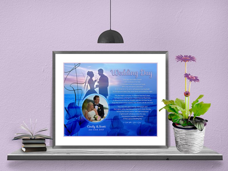 Personalized Sunset Beach Wedding Art Poem in Matted Frame