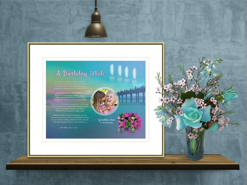 Personalized Birthday Art Poem in Gold Frame with Mat