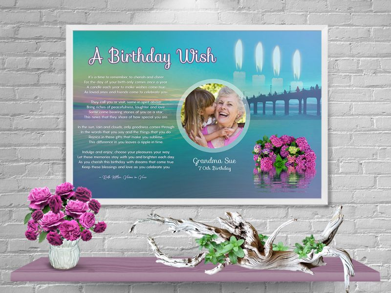 Personalized Birthday Art Poem in White Frame