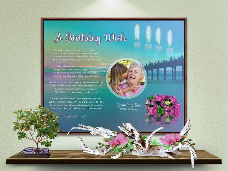 Personalized Birthday Art Poem in Canvas Frame
