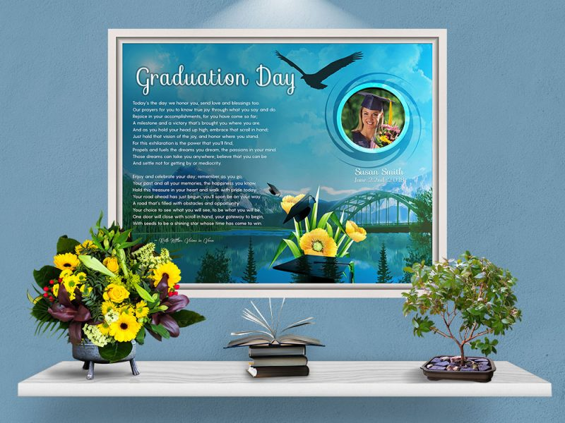 Personalized Graduation Art Poem in White Canvas Floater Frame