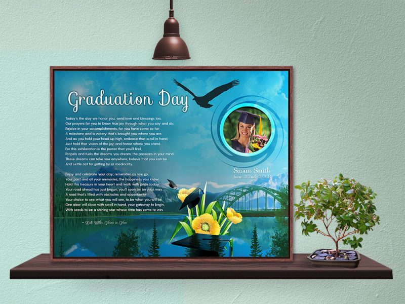 Personalized Graduation Art Poem in Wood Canvas Floater Frame