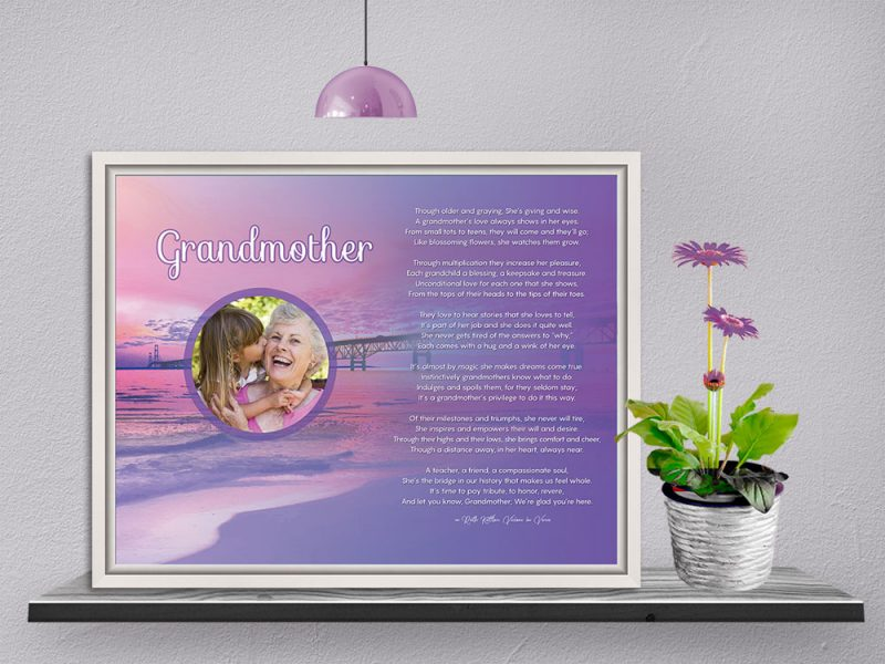 Personalized Grandmother Beach Art Poem in White Canvas Floater Frame
