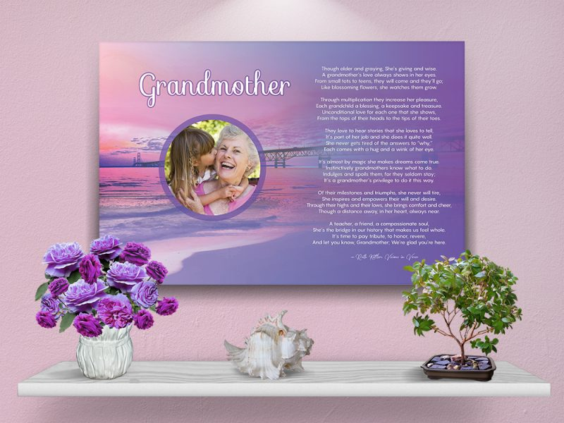 Personalized Grandmother Beach Art Poem Poster with Canvas Wrapped Edge