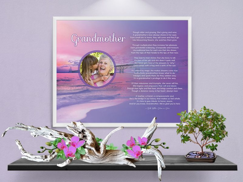 Personalized Grandmother Beach Art Poem in White Metal Frame