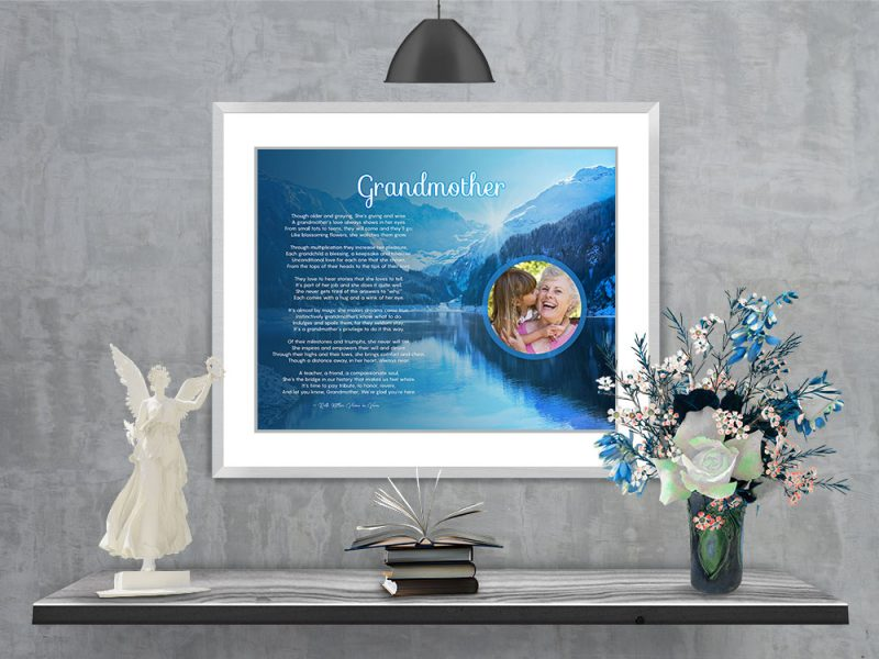 Personalized Grandmother Mountain Scene Art Poem in Silver Metal Frame with Mat