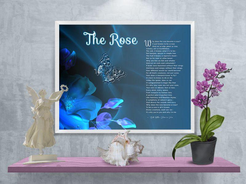 The Rose Spiritual Art Poem in White Frame