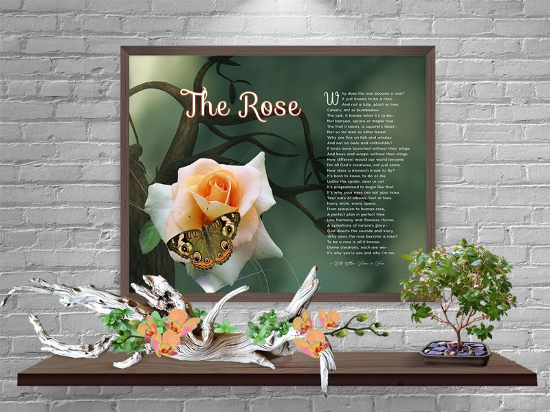 The Rose Spiritual Art Poem with Bronze Frame
