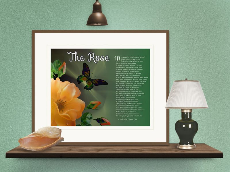 The Rose Spiritual Art Poem with Bronze Frame and Mat