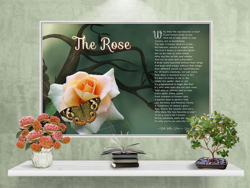 The Rose Spiritual Art Poem with White Canvas Frame