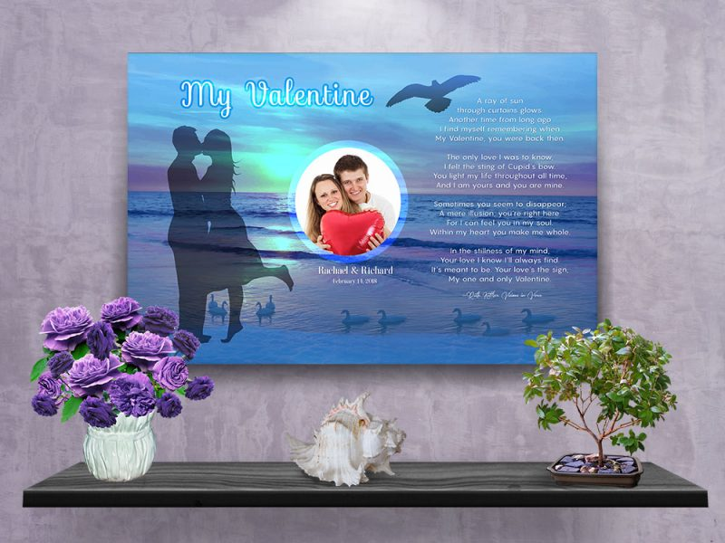 Personalized Sunset Beach Valentine Art Poem with Canvas Wrapped Edge