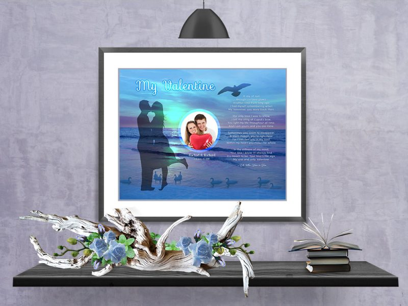 Personalized Sunset Beach Valentine Art Poem in Frame with Mat