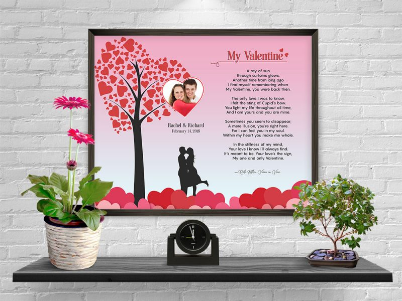 Personalized Heart Tree Valentine Art Poem in Frame