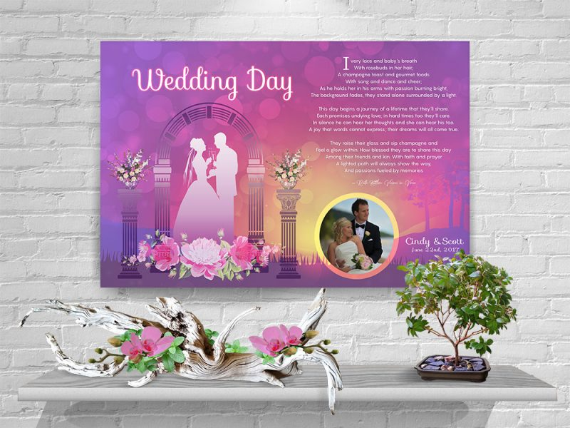 Personalized Wedding Arch Art Poem with Canvas Wrapped Edge
