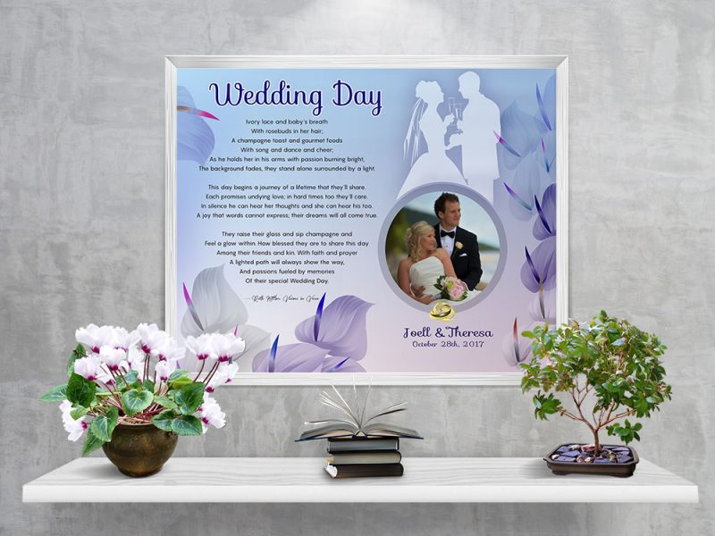 Personalized Cally Lilly Wedding Art Poem in White Frame