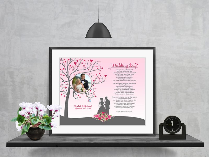 Personalized Heart Tree Wedding Art Poem in Matted Frame