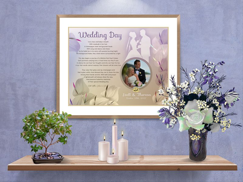 Personalized Golden Cally Lilly Wedding Art Poem in Matted Frame