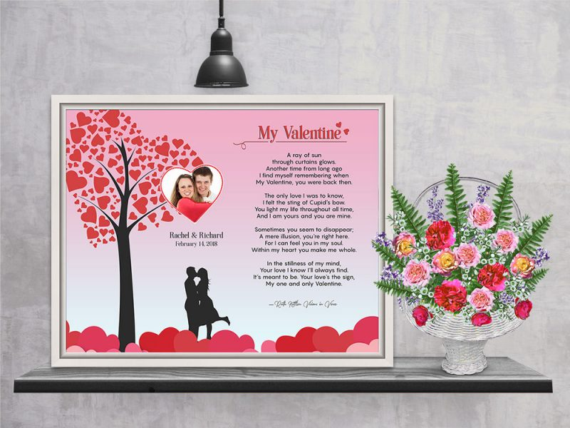 Personalized Heart Tree Valentine Art Poem in Canvas Floater Frame