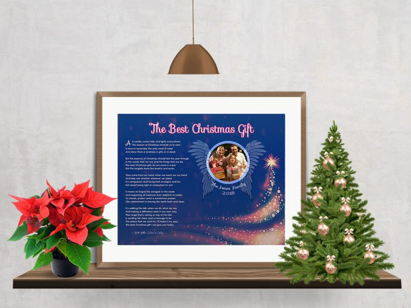 Personalized Christmas Tree Angel Wings Art Poem in Matted Gold Metal Frame