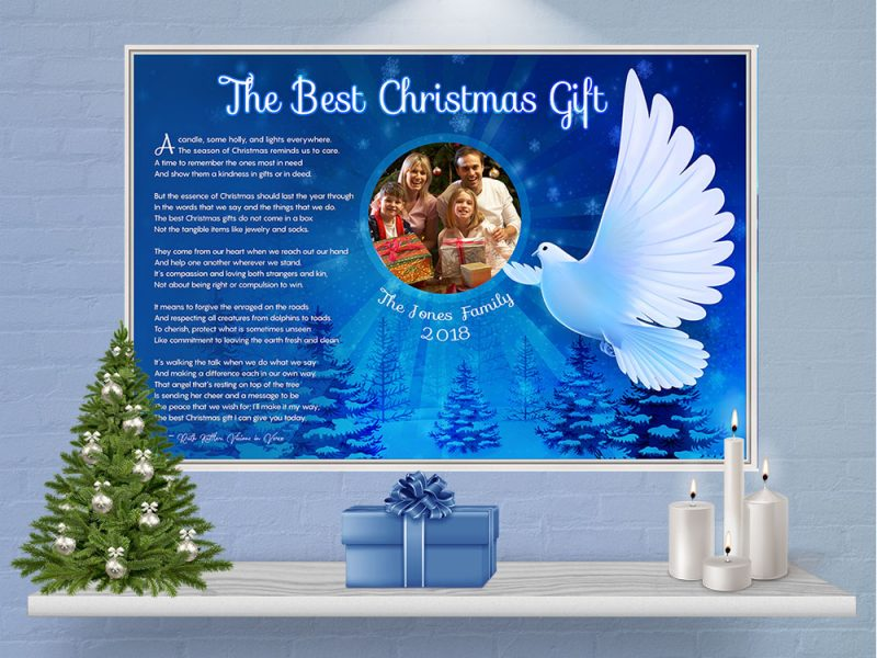 Personalized Christmas Dove Art Poem in White Canvas Floater Frame