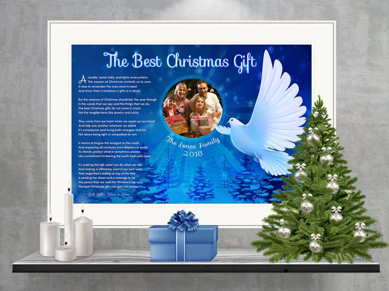 Personalized Christmas Dove Art Poem in Matted White Metal Frame