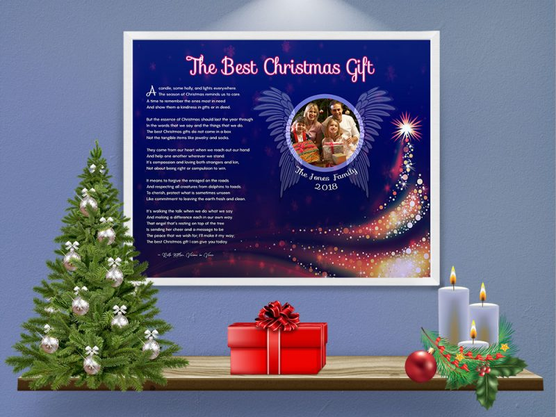 Personalized Christmas Tree Angel Wings Art Poem in White Metal Frame