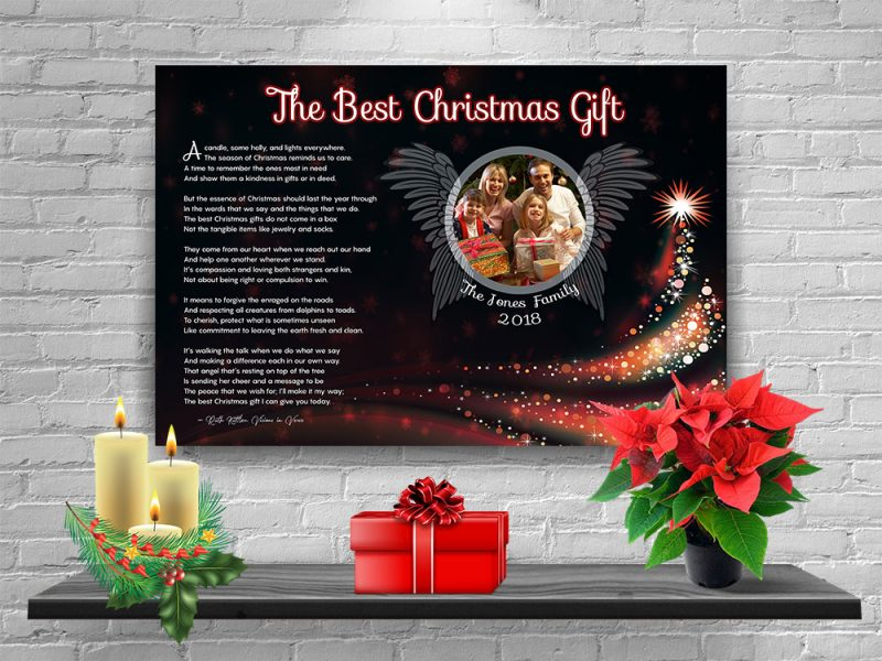 Personalized Christmas Tree Angel Wings Art Poem with Canvas Wrapped Edge