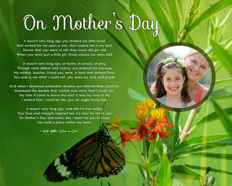 Original Butterfly Green Art Poem Personalized Mother's Day Gift Idea