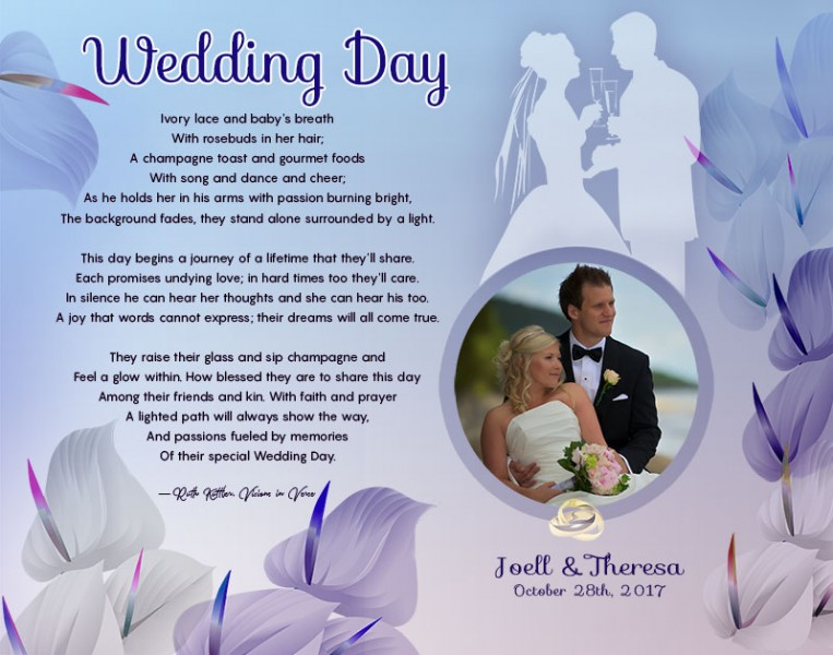 Blue with Lavender Cally Lilly Art Poem Personalized Wedding Gift Idea